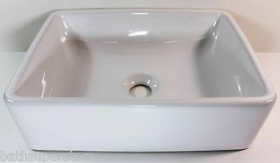 White Basin CounterTop Small Compact Square Ceramic 405 x 295 x 120mm Bowl NEW