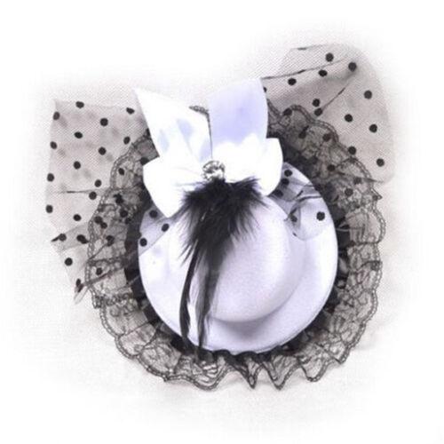 FD742 Barrette À Cheveux Nœud Pour Dentelle Plume Top Hat Fascinator Burlesque CLUB PARTY HAT ☆