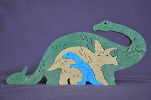 Long Neck & Triceratops Dinosaur Wood Puzzle Amish Made Scroll Saw Toy ...