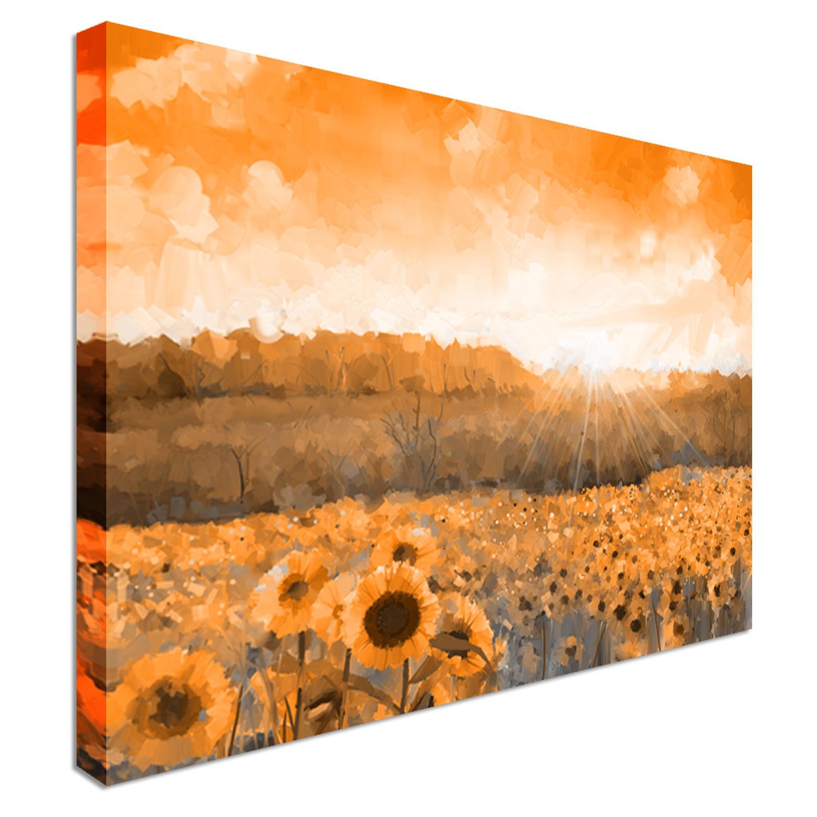 Puesta de sol Lona Parojo Arte Impresiones De Girasol Girasol Girasol Alta Calidad Gran Valor 7c0478