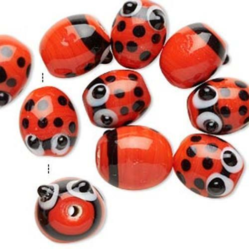 9880 Glass Beads Labybird Ladybug PK10 14mm *UK  SHOP*