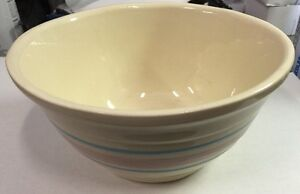 Vintage-Ovenware-USA-8-Pottery-Bowl-with-Blue-And-Pink-Bands-I