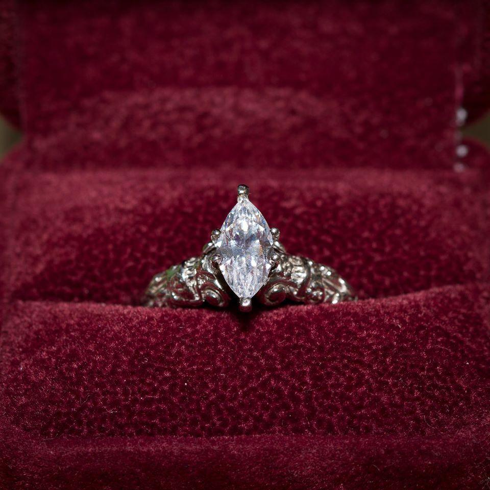 14kt White gold, 1kt Lab-Created Diamond Artisan Engagement Ring