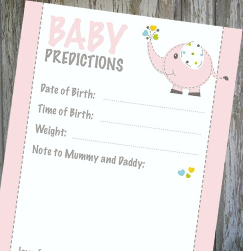 BABY GIRL SHOWER GAME 20 GUEST PACK!! BABY PINK PREDICTION CARDS KEEPSAKE!