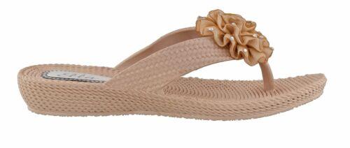 6ca4334a65858b Ella Womens Danni Flower Diamante Low Wedge Toe Post Flip Flop Sandals. UK  7   US W9   EU 40 Gold