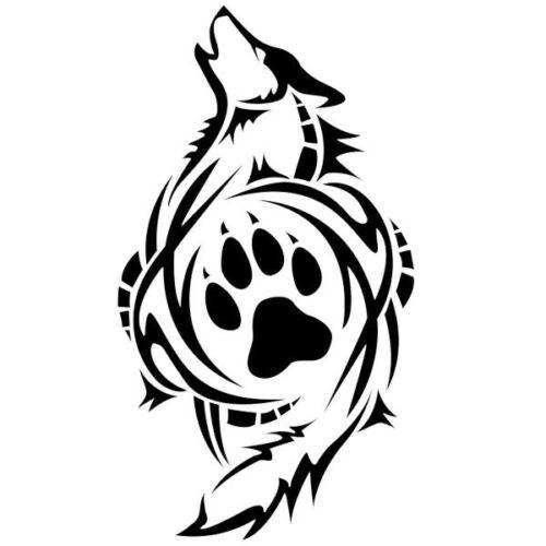 """18x10cm à 53x30cm Sticker Décoration Mural ou Voiture /""""Loup Tribal/"""""""