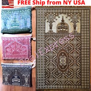 Muslim-Travel-Mat-Islamic-Prayer-Rug-janamaz-Turkish-Sajda-Mat-BestQuality-Gray