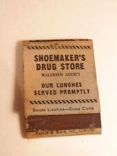 Early advertising matchbook: Shoemaker Drug Store ad (Walgreen Agency)