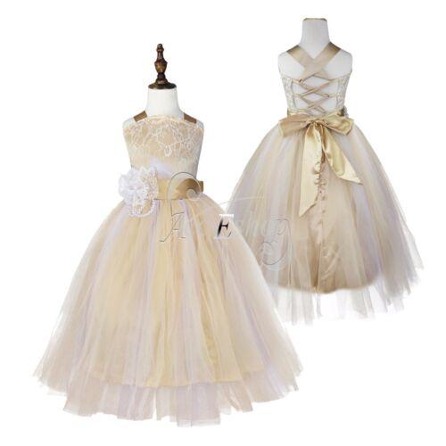 Flower Girls Crossed Back Dress Kids Wedding Bridesmaid Prom Gown Tutu Dresses