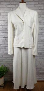 Chaps-womens-suit-Size-12-white-linen-1990s-vintage-midi-length-bias-cut-skirt