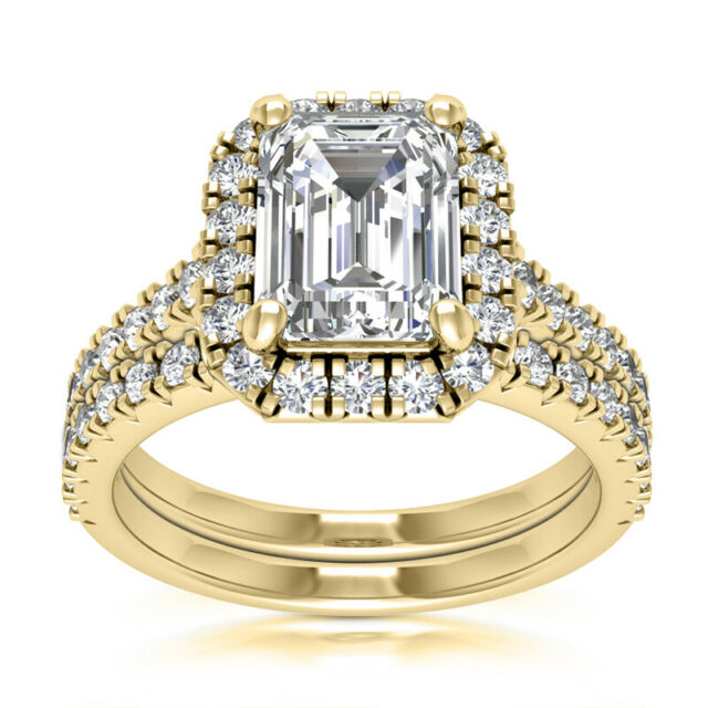 Halo Set 2.31 Carat Natural H VS2 Emerald Diamond Engagement Ring Yellow Gold