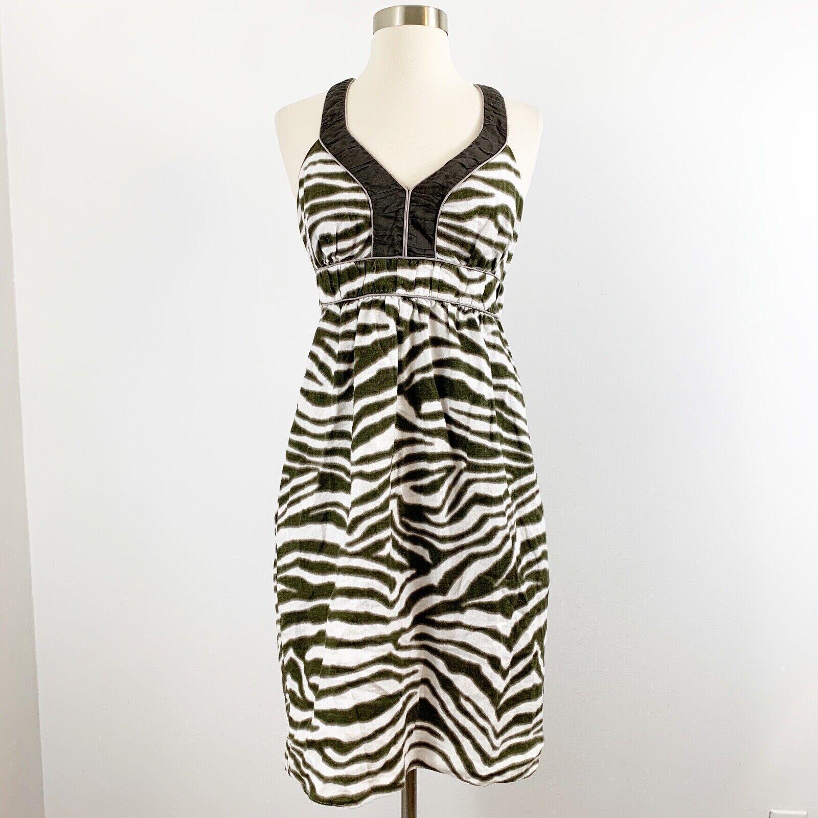 Banana Republic Animal Print Dress Size 4 Linen Cross Back Straps V Neck