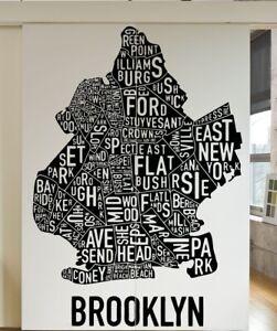 Adesivo-Decalcomania-Parete-in-Vinile-NEW-YORK-BROOKLYN-Parole-Mappa-5215