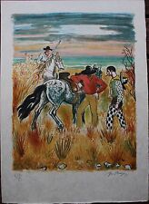 Yves BRAYER - Lithographie signée numérotée Camargue lithograph horse cheval *