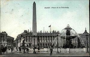 1908-seltene-Mischfrankatur-Frankreich-auf-AK-Carte-Postale-PARIS-Pl-Concorde