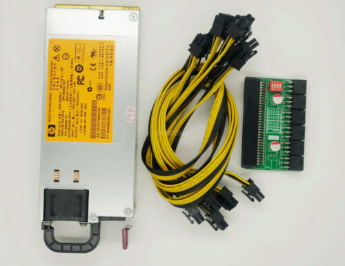 DPS 750RB 750W Power Supply w// Breakout Adapter 6 Cables For Ethereum Mining