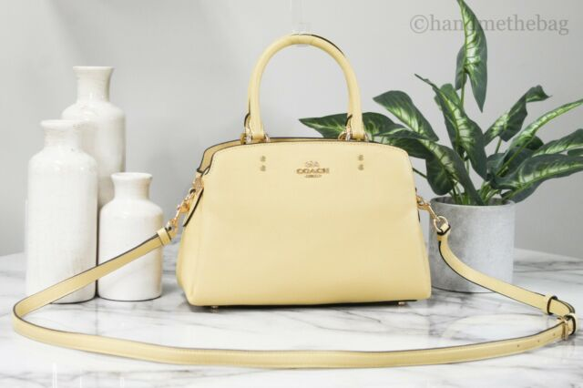 Coach 91146 Mini Lillie Vanilla Crossgrain Leather Carryall Crossbody Handbag