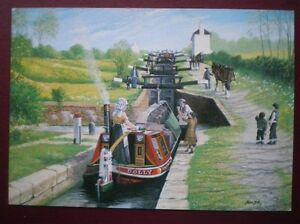 POSTCARD-SAILING-VESSELS-FOXTON-FLIGHT-LEICESTER-SECTION-GRAND-UNION-CANAL