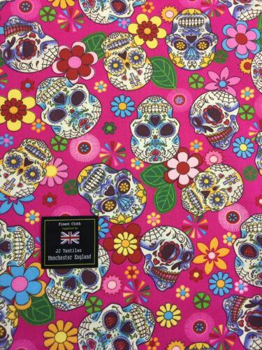 Cerise Pink Skull Candy Skulls  Printed 100/% Cotton Poplin Fabric.