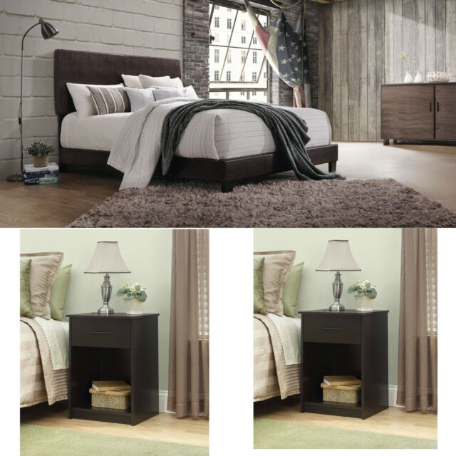 Bedroom Set Queen Size 3 Piece Furniture Modern Brown Bed Leather