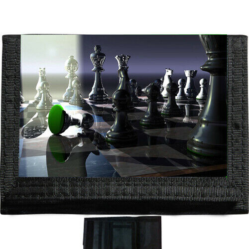 Chess Players BLACK TRIFOLD NYLON WALLET Great Gift Idea