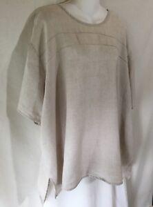 FLAX-by-Jeanne-Engelhart-Natural-Linen-Lagenlook-Tunic-Top-Pullover-Shirt-2G