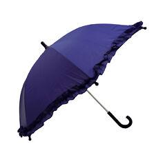 "RainStopper 34"" Children's Girls Ruffle Parasol Frilly Umbrella Sun Shade PURPLE"