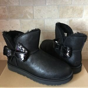 c9a70c3934a Details about UGG MINI BAILEY SEQUIN BOW BLACK SUEDE SHEEPSKIN BOOTS SIZE  US 9 WOMENS