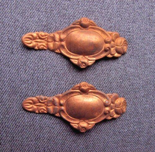 2 Vintage golden metal appliques embellishments for crafts furniture repurpose c
