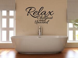RELAX-CHILL-OUT-Unwind-Spruch-Badezimmer-Dusche-Aufkleber-Wandkunst-Bild