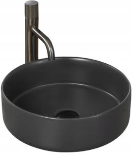 Waschbecken Aufsatzbecken Spüle Wandbecken Bau-Keramik Rund Sami Grau 36 cm Rea