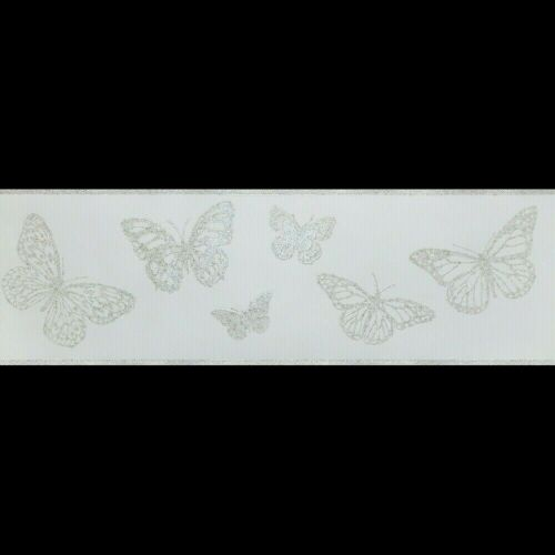 Powder Blue /& Silver Glitter Butterflies Wallpaper Border 44