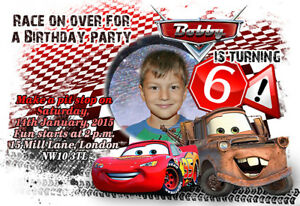 Detalles De 10 X Invitaciones De Cumpleaños Foto Personalizado O Tarjetas De Agradecimiento Disney Cars Ver Título Original