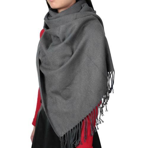 Chic Women Lady Winter Cashmere Blend Pashmina Solid Tassel Shawl Wrap Scarves