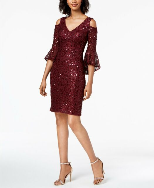 815e8b0d Nightway Sequined Lace Bell-sleeve Dress Merlot Size 8 for sale ...