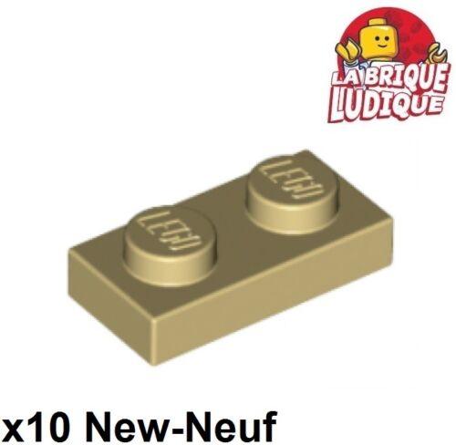 Lego 10x Plate Flat 1x2 2x1 beige//tan 3023 NEW