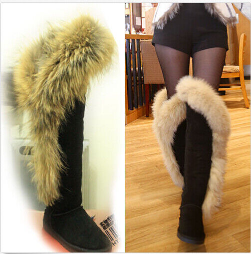 Fashion Women Big Fox Fur Snow Winter Suede Warm Knee High Boots lady shoes P742