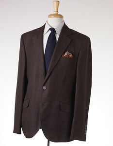 NWT-3595-BRUNELLO-CUCINELLI-Brown-Check-Wool-Silk-Linen-Sport-Coat-42-R