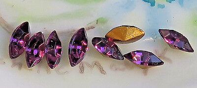 Vintage Amethyst Glass Rhinestones Navettes Foil 6x3 Navette Gold Foil #1258B