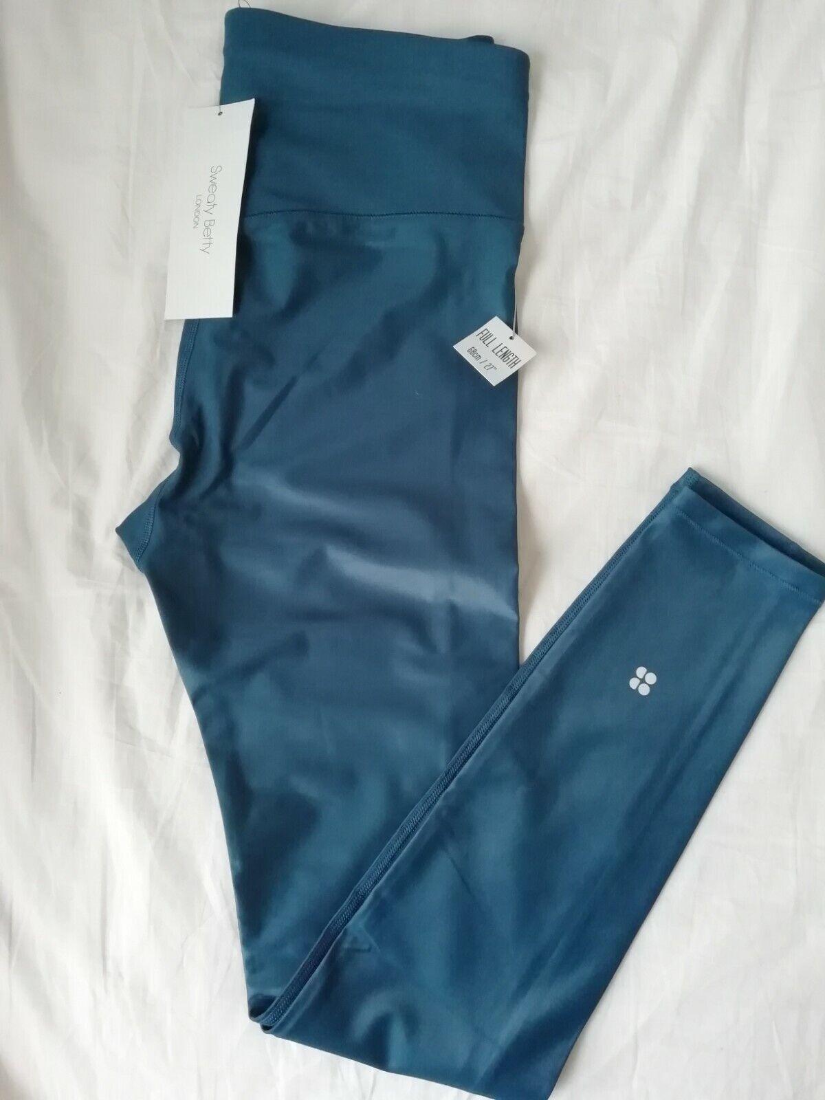 BNWT Sweaty Betty High Shine Gym Leggings Large (L), High waisted Blue YOGA