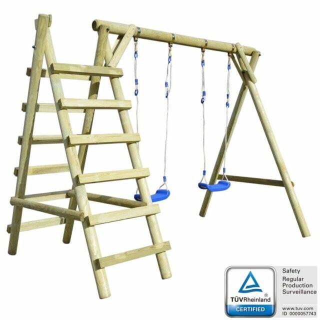 Kinderschaukel Schaukelgestell Doppelschaukel Schaukelgerüst Kiefernholz Leitern