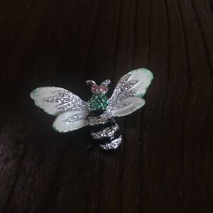 Silver Toned Pink Rhinestone BUTTERFLY Brooch Wardrobe and Clothing Accessory