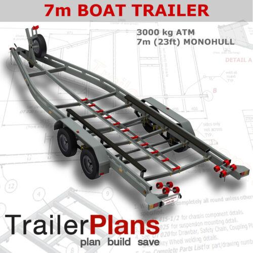 Trailer Plans - BOAT TRAILER PLANS - 7m(21ft) Monohull - PRINTED HARDCOPY