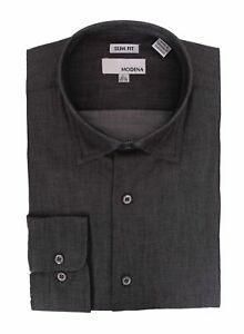 Mens-Slim-Fit-Black-Textured-Spread-Collar-Cotton-Blend-Dress-Shirt