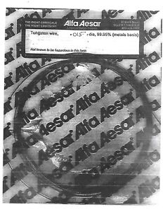 "DIAMETER 99.95/% PURE X 1 FOOT  LONG TUNGSTEN WIRE .015/"" 12/"" LONG .4mm"