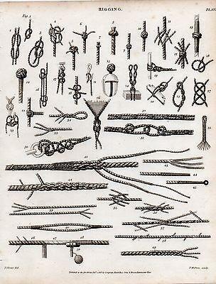 1816 GEORGIAN PRINT ~ RIGGING ~ KNOTS NAUTICAL VARIOUS ROPE SAILING SHIPS