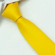 D.berite Yellow 100% Silk Man's Wedding Groom Solid Skinny Slim Tie Necktie SK16