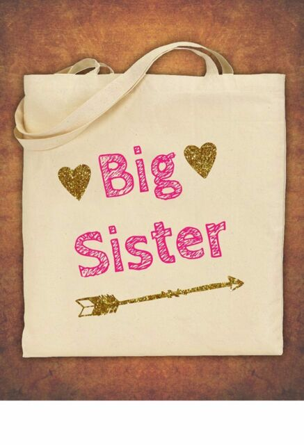 Big Sister Birthday Present Gift Baby Kids Tote Bag Childrens Cotton Natural