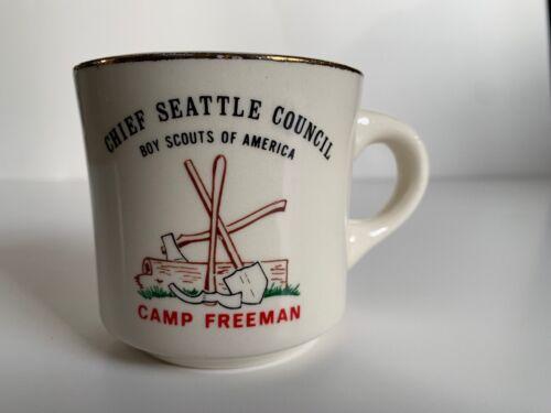 Boy Scouts Mug Chief Seattle Council Camp Freeman Ax Shovel Log BSA