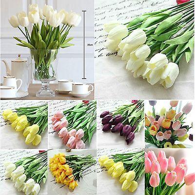 10pcs Artificial Tulip Flower Latex Real Touch Bridal Wedding Home Bouquet Decor